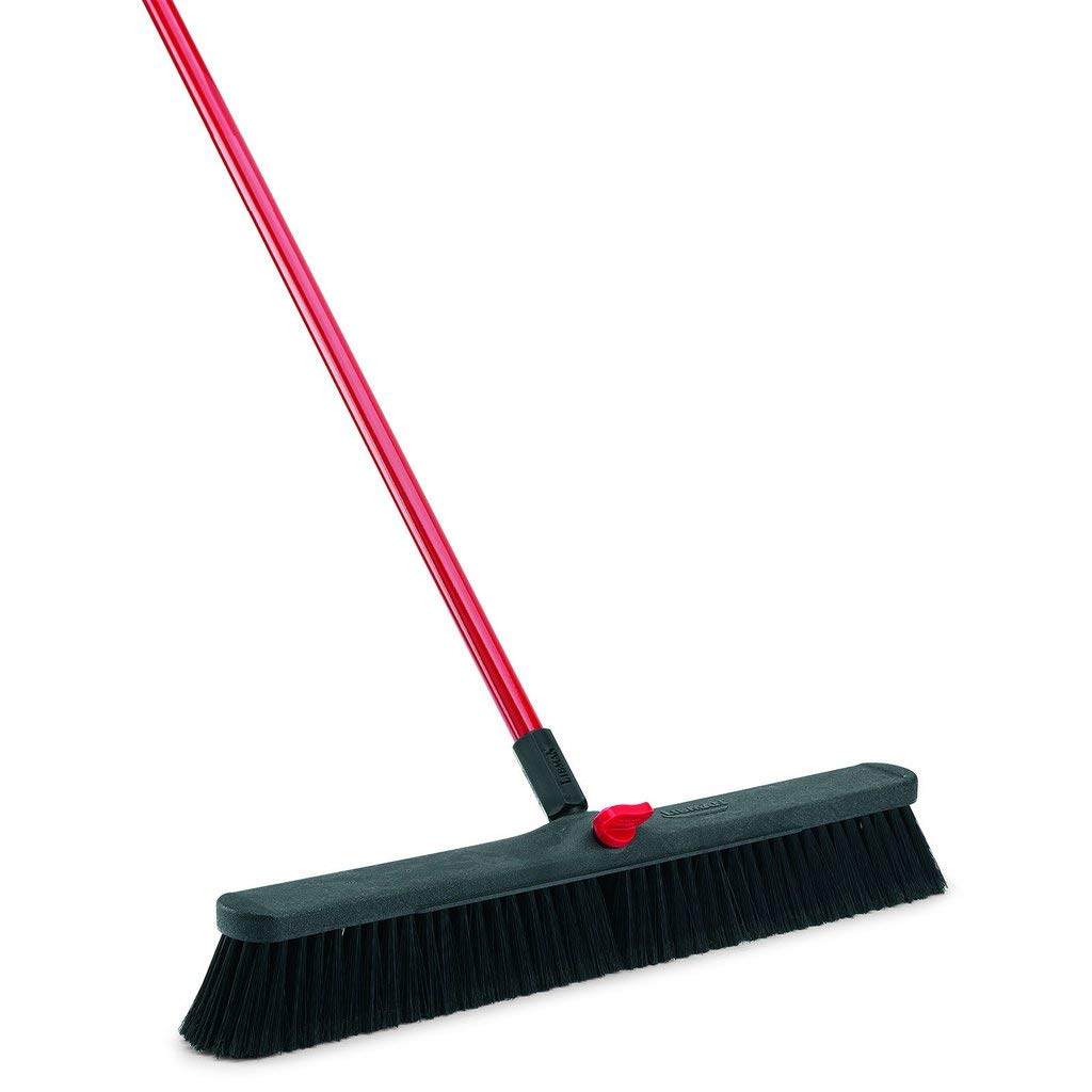 Libman Commercial 801 Smooth Surface Push Broom, 64'' Length, 24'' Width, Black/Red (Pack of 4) by Libman Commercial