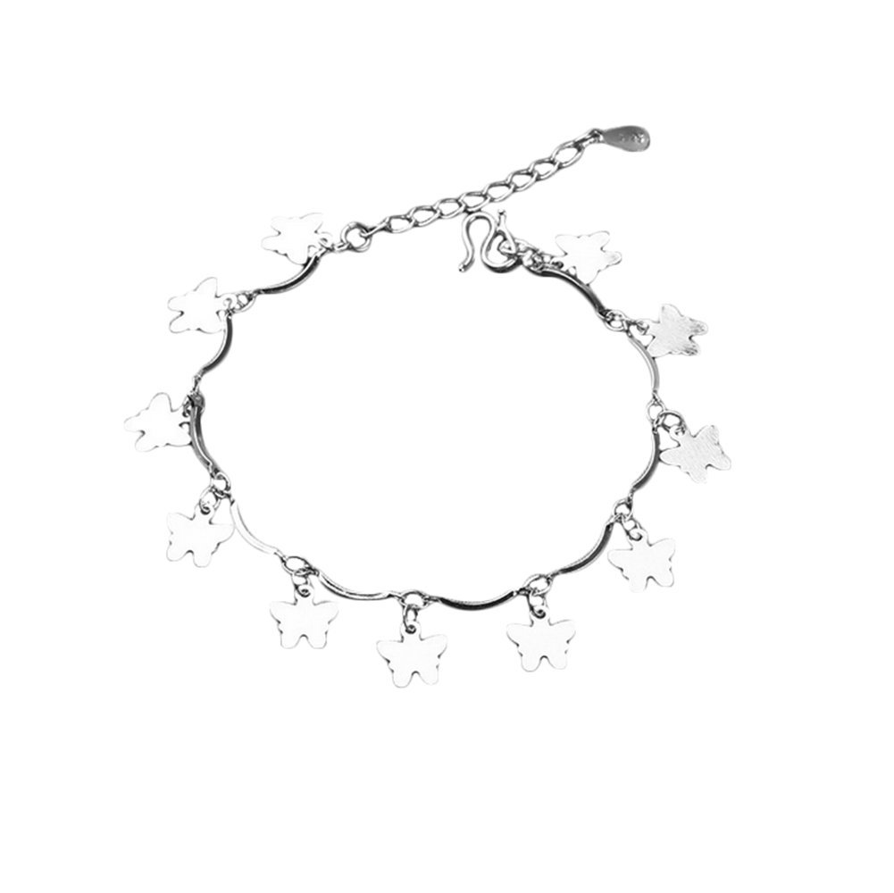 argent Vi.yo Bracelet de cheville Type de papillon pliant Plage Bijoux pieds pieds pour femmes Alliage de m/étal et strass