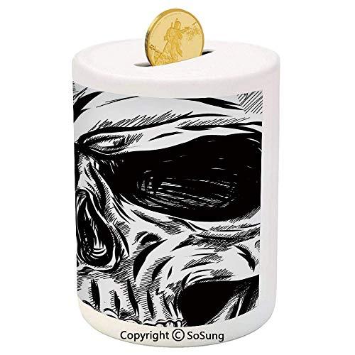Halloween Ceramic Piggy Bank,Gothic Dead Skull Face Close Up Sketch Evil Anatomy Skeleton Artsy Illustration Decorative 3D Printed Ceramic Coin Bank Money Box for Kids & Adults,Black White]()