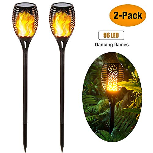 Solar Garden Lights,Waterproof Realistic Dancing Flames Light, 3 Modes Auto On/Off Dusk to Dawn Outdoor Security Landscape Garden Torch Lights, Patio Drive Way, Halloween Christmas Decoration (2 Pack)