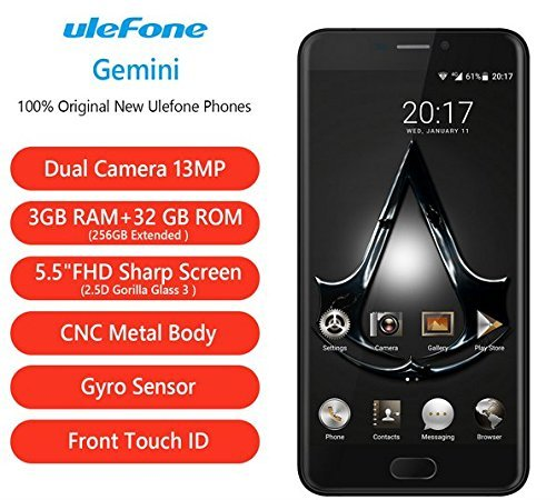 """Ulefone Gemini Dual Back Cameras 4G Cellphone 5.5"""" FHD 3G+32G MT6737T Front Touch ID Metal Unibody (Black)"""