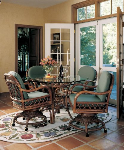 Antigua Swivel-Tilt Caster Dining Set (Gaming Table Set) - Assembled and Cushions (Antigua Rattan Chair)