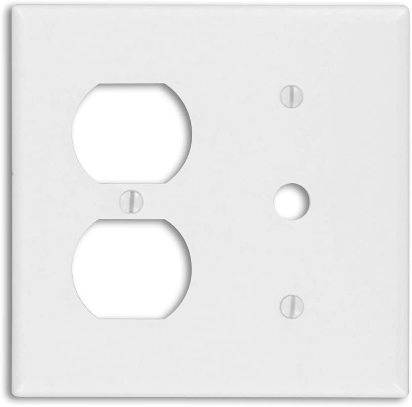 Leviton 88078 2-Gang 1-Duplex 1-Telephone/Cable .406 Device Combination Wallplate, Thermoset, Strap Mount, White