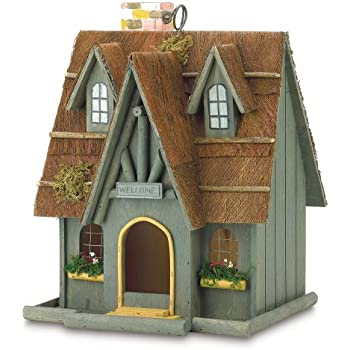 Gifts & Decor Thatch Roof Wood Cottage Chimney Bird House