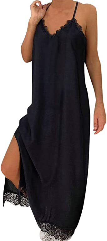 Smonke Sexy Kleid Elegante Kleider Lange Kleider Retro Sommer Festliche Damskakleider Knielang - Damska Vintage V-Neck Sling Lace Trim Ärmellose Abend Party Prom Swing Dress: Odzież