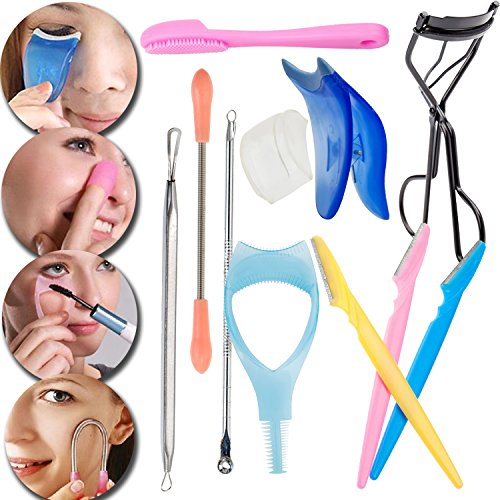 Set Kit of Make Up Utensils with Blackhead Extractors, Facial Hair Removing Coil, Silicone Finger Glove Pores Cleaner, Mascara and Fake Eyelashes Applicators, Eye Lashes Curler and Eyebrows -