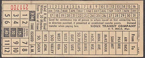 Sioux Transit Company streetcar transfer Sioux Falls SD ca 1940s Sports Bowl