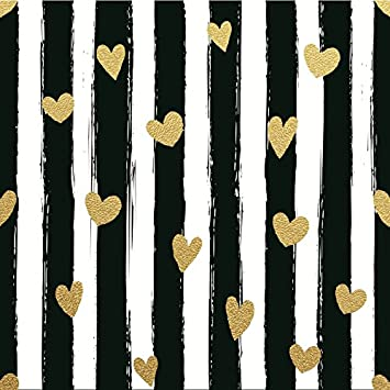 Amazon Com Laeacco Black And White Stripe Background With Hearts Photography Background 8x8ft Striped Gold Hearts Background Birthday Party Banner Decoration Children Studio Prop Camera Photo