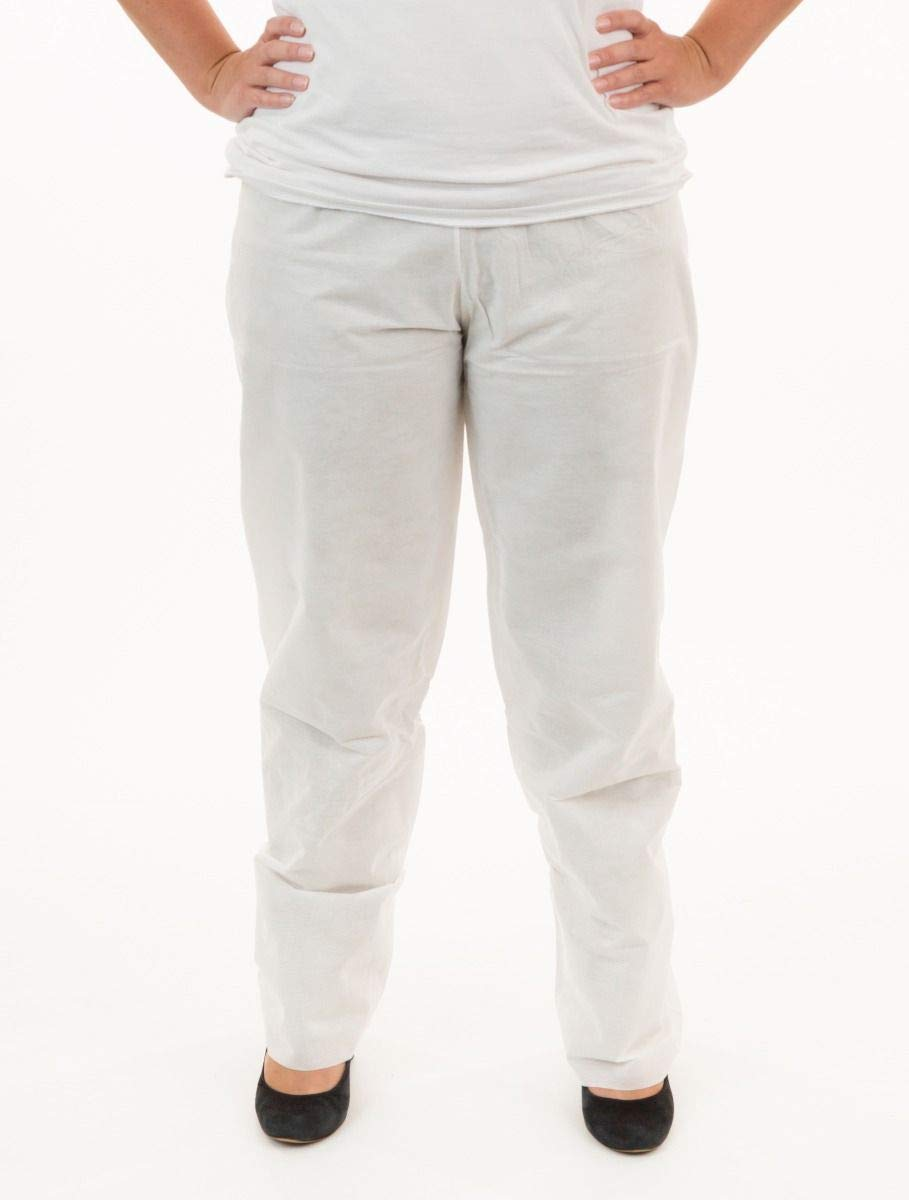 International Enviroguard SMS Pants (White) with Elastic Waist | General Cleanup & Protection (2XL, Case of 30) by International Enviroguard (Image #1)