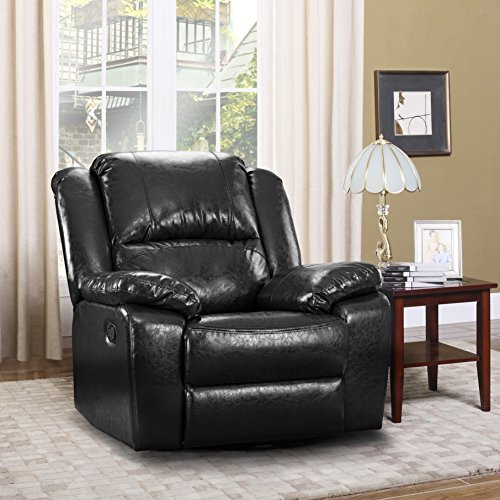 Oversize Ultra Comfortable Bonded Leather Rocker and Swivel Recliner Living Room Chair (Black)
