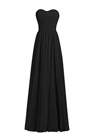 M Bridal Womens Pleated Strapless Floor Length Bridesmaid Prom Dress Black US Size 2