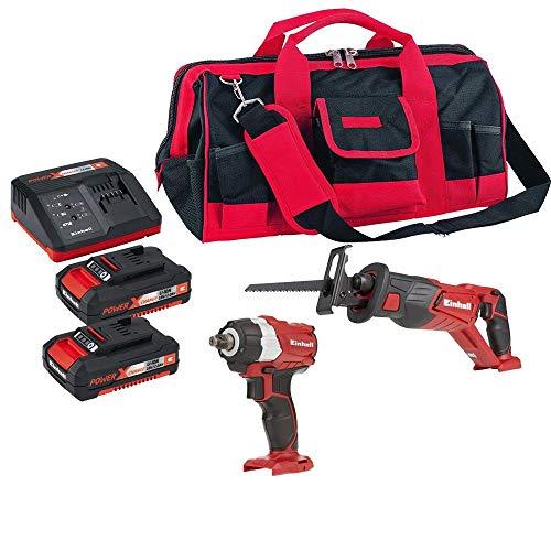 chave impacto,serra sabre,bolsa e bateria 2 ah einhell