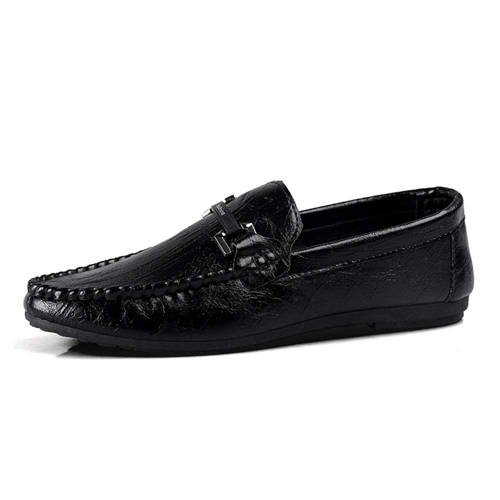 Gobling Summer Loafer for Men, Fashion Anti-Slip Pull-on Moccasins Microfiber Leather Lightweight Casual Driving Boat Shoes Decor with Metal Chain (Color : Black, Size : 9.5 M US)