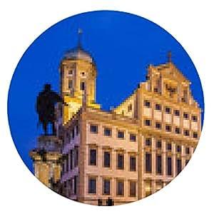 alfombrilla de ratón Rathaus en Augsburgo en la noche - ronda - 20cm