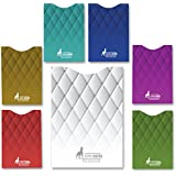 RFID Blocking Sleeve set of 6 x credit card protector and 1 x passport holder sleeve, Unique exclusive stylish designs for daily use Secure Identity Theft Protection, MUST BE with any traveler