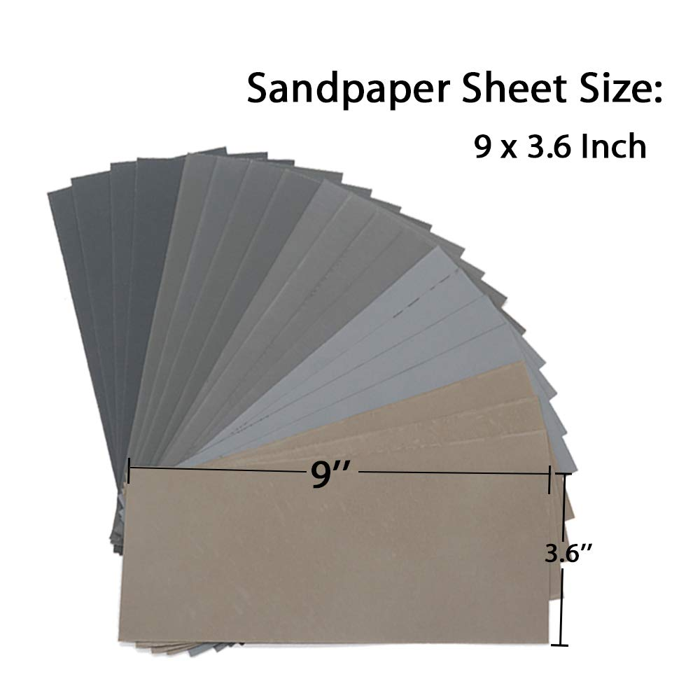 High Grit 1000//2000//3000//5000//7000 Sandpaper Sheets Assortment for Wood Metal Polishing Automotive Sanding 20Pcs Wet Dry Sandpaper 9 x 3.6 inch by BAISDY