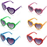 Onnea fashion 6 Neon Colors Heart Shape Party Favors Sunglasses, Multi Packs