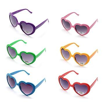 ONNEA 6 Pares Gafas de Sol Fiesta Forma de Corazón Neon Colores Paquete (Multicolor 6-pack)