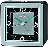 Seiko QHE098K Travel Portable Bedside Snooze Alarm Clock with Flashing Light - Black/Silver