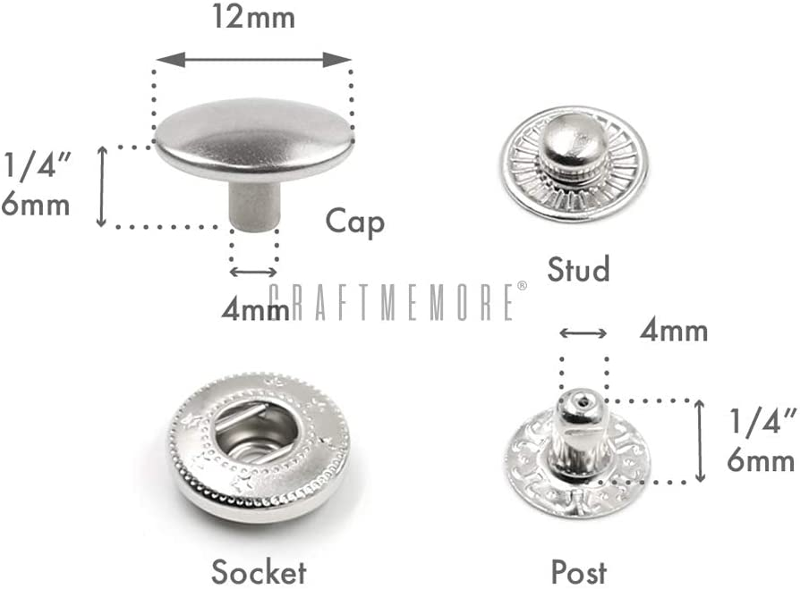 8mm 0.31 CRAFTMEmore 50 Pack Multi-Size Antique Brass Snap Buttons S-Spring Socket Popper Fasteners Jacket Bag Closures