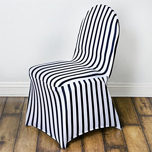 Efavormart 50pcs Striped Spandex Chair Cover For Wedding Event Party - Black / White