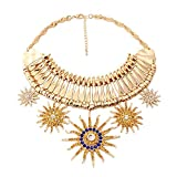 efigo Fashion Statement Necklace Choker Collar Bib Necklace Vintage Boho Costume Jewelry for Women Girls (Gold)