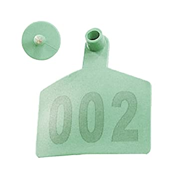 Pack of 100 Cattle Ear Tag with Words From 001 to 100 (Green)