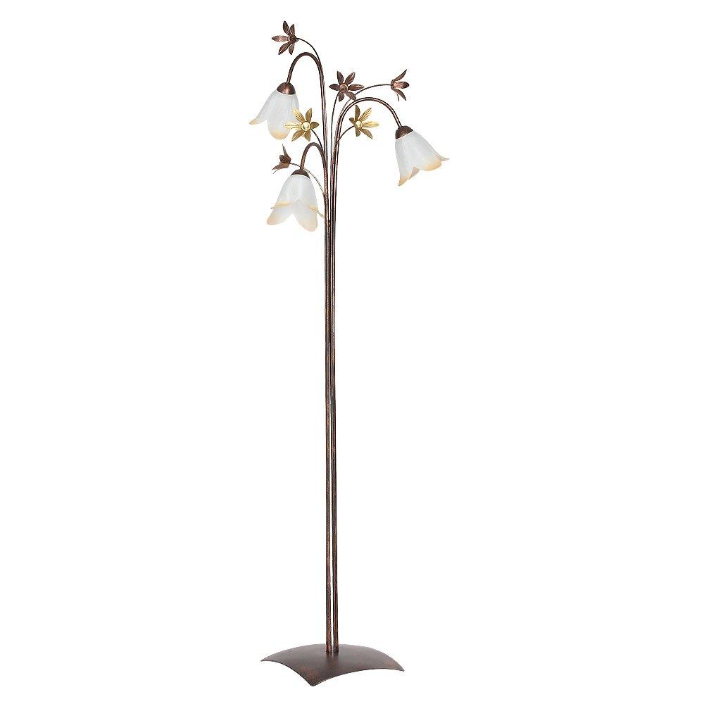 Schöne Stehleuchte in Kupfer Antik Gold Floral 3x E27 bis zu 60 Watt 230V aus Glas & Metall Wohnzimmer Lampe Leuchten Beleuchtung innen