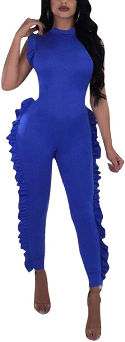 pujingge Womens Reversible Jumpsuit Sleeveless Ruffle Jumpsuit Romper