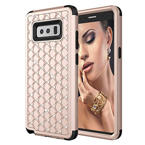 Samsung Galaxy Note 8 Case, ZAOX [Heavy Duty] Studded Rhinestone Hybrid Full-body Protective Cover, Shockproof 3 in1 Soft TPU & Hard PC Anti-slip Case for Galaxy Note8
