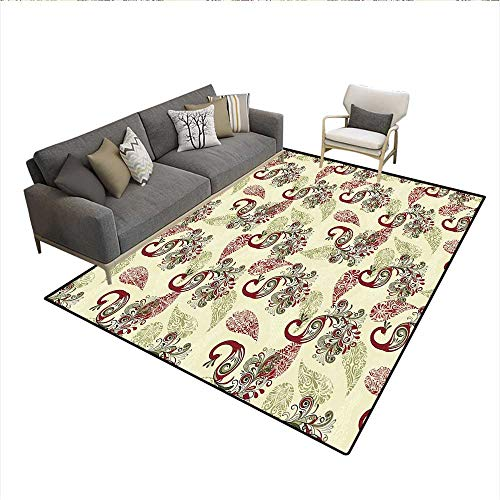 (Carpet,Winter Pattern with Stylized Peacocks and Snowflakes Floral Paisley Ornamental,Indoor Outdoor Rug,6'x9')