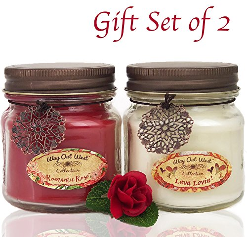 Romantic Jar Candles Scented Set of 2 - Soy Wax Blend- Fragrant, Romantic Rose & Lava Lovin'Tropical -Best Gift Idea for Anniversary or Valentines Day - Made in USA by Way Out West Candles (Sweetest Day Gift Ideas)