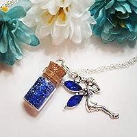 Girls Jewelry, Fairy, Blue Rhinestone, Pixie Dust, Celestial, Periwinkle, Charm Necklace, Flower Girl Jewelry, Kids Jewelry, tooth fairy