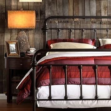 Amazon Com Antique Finish Dark Bronze Queen Size Metal Bed This
