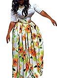 Moxeay Women African Print High Waist Pleated Flared A Line Maxi Skirt