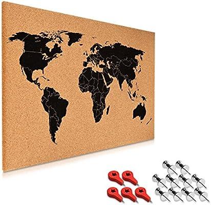 Navaris tablero de notas de corcho - tablero mapa del mundo 60x40 ...