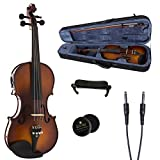 Cecilio CVNAE-330 Ebony Fitted Solid Wood Acoustic Electric Violin, Antique Varnish, Size 4/4