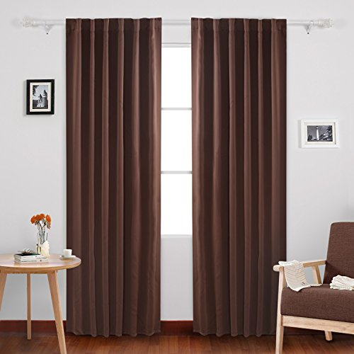 Deconovo Rod Pocket and Back Tab Blackout Curtains Thermal Insulated Window Curtain Blackout Panels for Dining Room 52x84 Inch Brown 2 Panels (Curtains For Dining Room Windows)