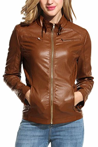 HOTOUCH Womens Faux Leather Zip Up Moto Biker Jacket Coffee M