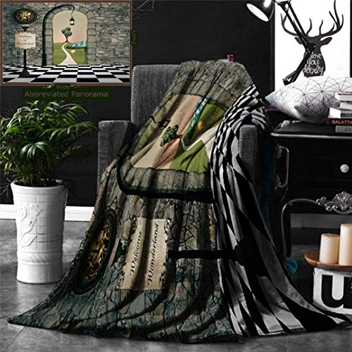 Ralahome Unique Custom Double Sides Print Flannel Blankets Alice In Wonderland Decorations Welcome Wonderland Black White Floor Tree Land Super Soft Blanketry Bed Couch, Throw Blanket 70 x 50 Inches