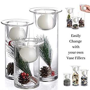 Hurricane Candle Holders with Replaceable Holiday Flowers - Set of 3
