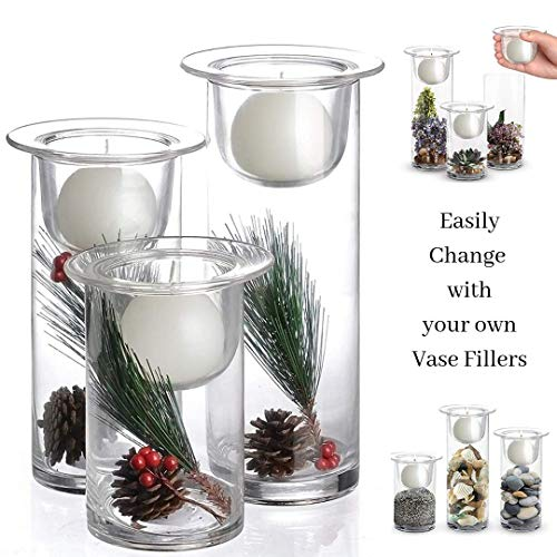 Hurricane Candle Holders with Replaceable Holiday Flowers - Set of 3 Glass Centerpieces for Christmas, Wedding, Home Decor, Parties and Anniversary - White Ball Candles Included
