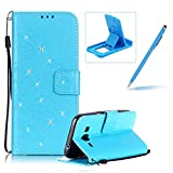 Wallet Case for Samsung Galaxy J3 2016,Strap Portable Leather Case For Samsung Galaxy J3 2016,Herzzer Stylish Bling Diamonds Blue Butterfly Embossed Pu Leather Purse Pouch Magnetic Closure Flip Folio Protective Case