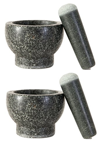 Elm Cove Set of 2 LARGE Mortar and Pestles - Spice Grinders - Made of Solid Granite Stone – 6 Inch Pestle - 2 Cup Capacity