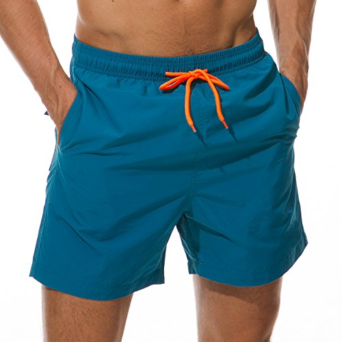 SILKWORLD Men's Swim Trunks Quick Dry Beach Shorts with Pockets, US XL, Peacock Blue -