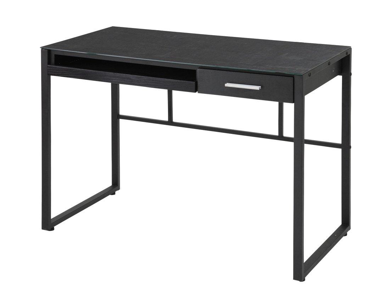 あずま工芸 リブロ ガラスデスク 幅100cm ブラック EDG-1969 B01B171GYE ブラック ブラック