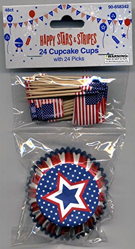 Patriotic Stars and Stripes Cupcake Paper Cups with Decorative Toothpick Flags (American Flag Cupcake Picks)