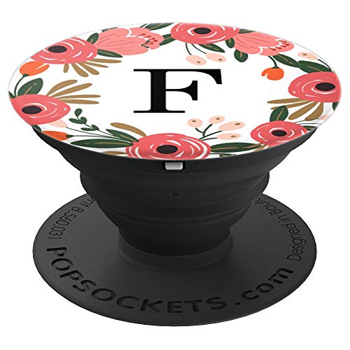- First & Last Initial Letter F Floral Wreath Monogram AAN006 - PopSockets Grip and Stand for Phones and Tablets