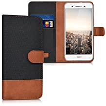 kwmobile Wallet case canvas cover for Huawei GR3 / P8 Lite SMART - Flip case with card slot and stand in black brown