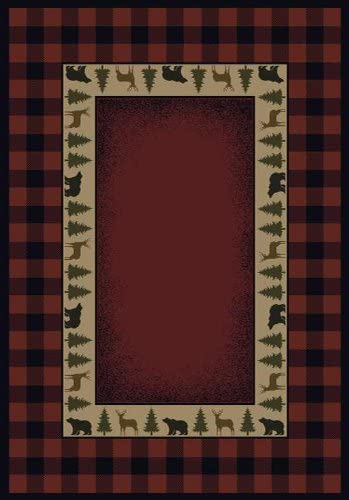 United Weavers of America Genesis Collection Buffalo Red Rug 1ft. 10in. x 3ft., Crimson, Olefin Rug in Southwestern Style with Jute Backing